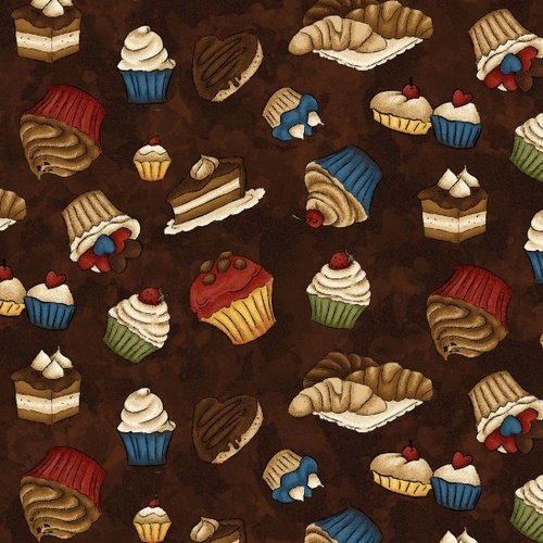 Fabric Coffee Escapes brown cupcakes