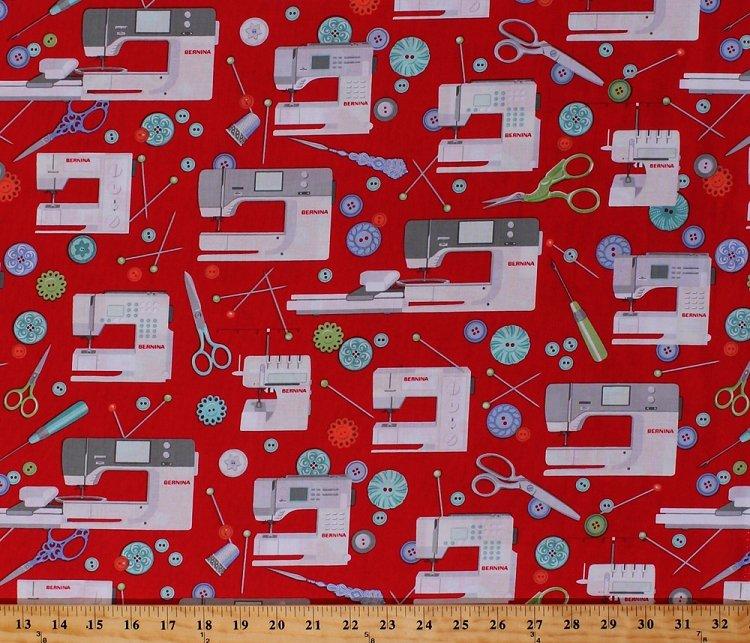 Fabric Bernina Logo Sew Machine Red