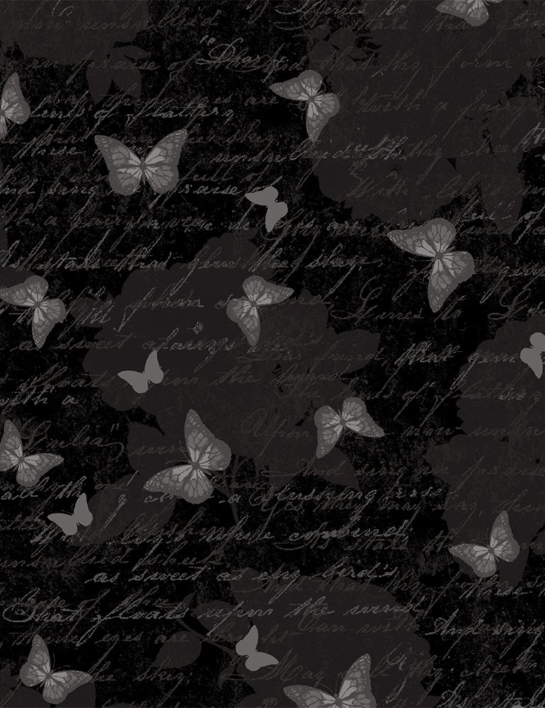 Fabric Antique Butterfly Text Butterfly-C7975-Black