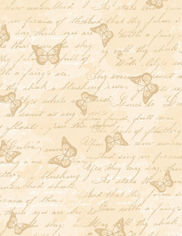 Fabric Antique Butterfly Text Butterfly-C7975-Cream
