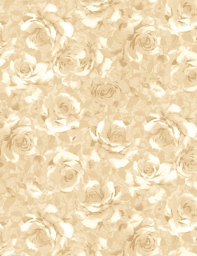 Fabric Packed Shadow Roses Fleur-C7979-Cream