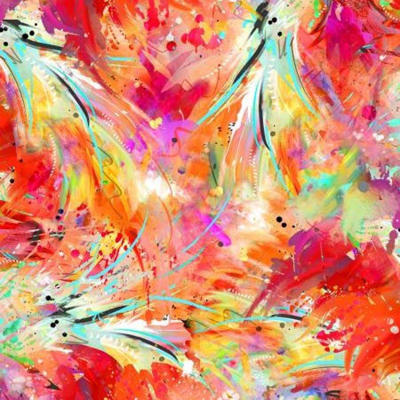 Fabric Flamingo Feathers 15993-Multi