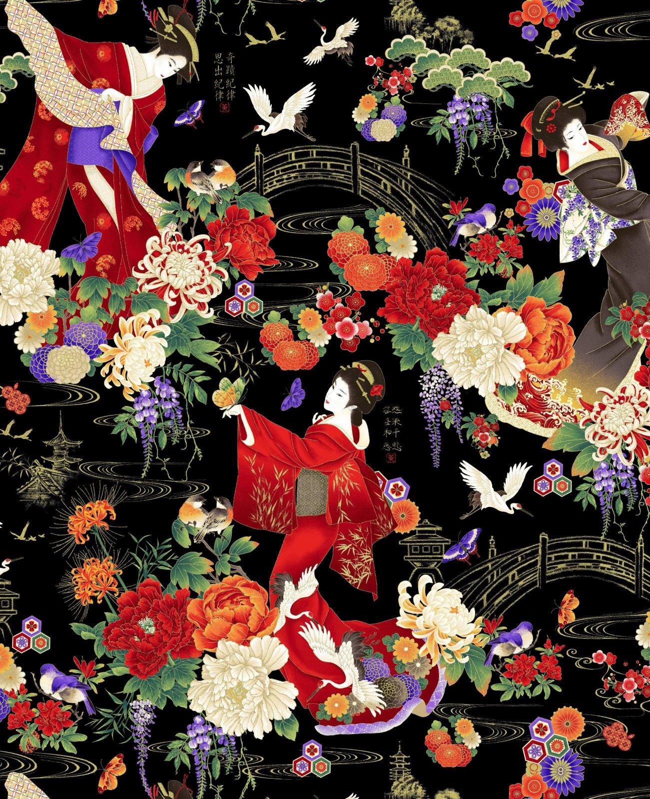 Fabric Geishas in Garden Allover KOKO-CM7873-Multi