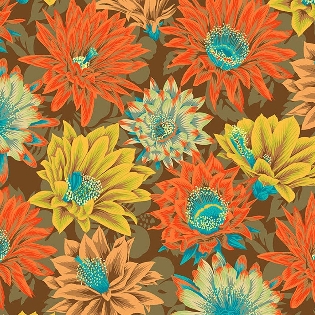 Fabric Cactus Flower Brown Kaffe Fassett