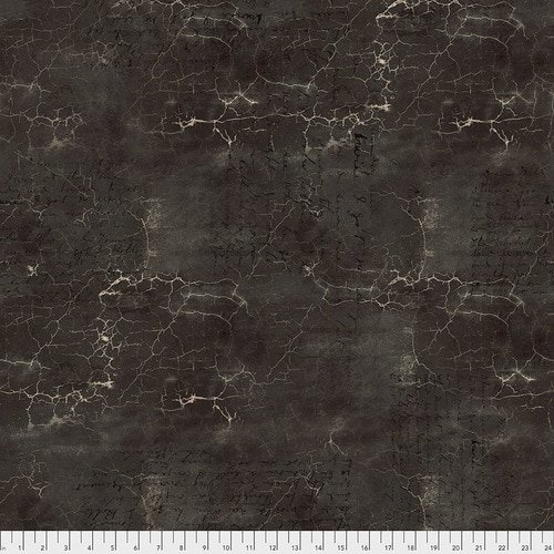 Fabric  Abandoned Cracked Shadow Black Tim Holtz