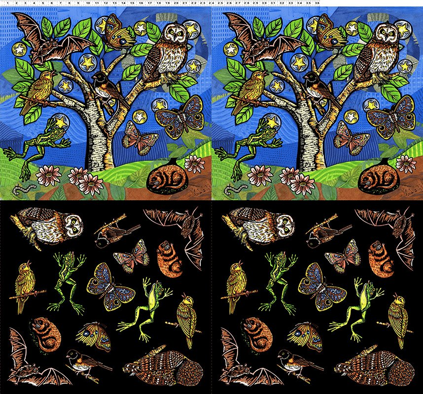 Fabric Night Owl Panel Y2803-55