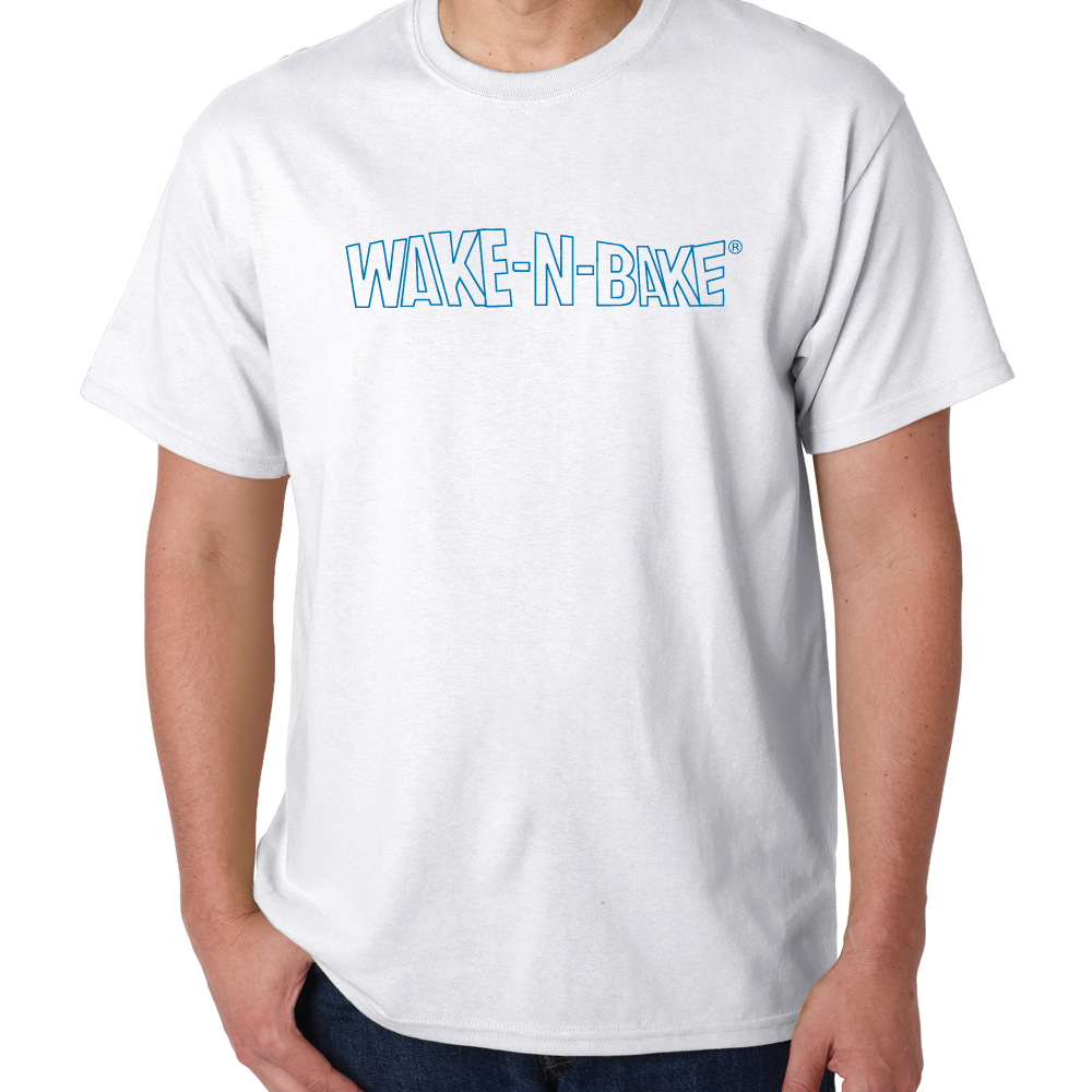 Wake N Bake White T with Blue lettering