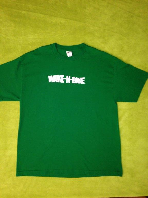 Wake N Bake Green T with white lettering