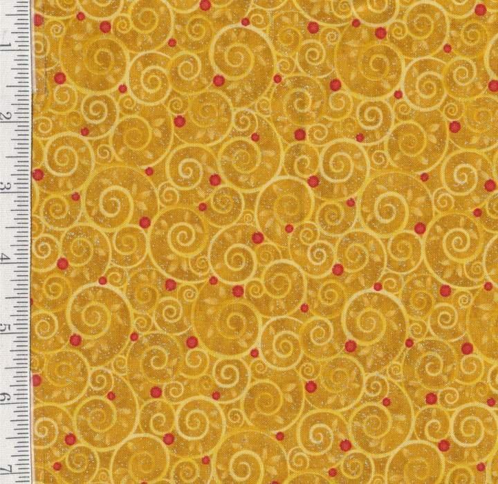 1yd Mistletoe - Gold Swirls with Red by Benartex