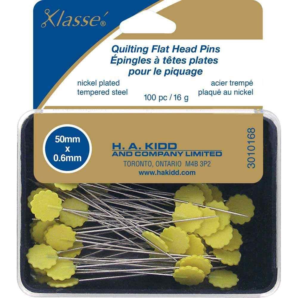 KLASSE Quilting Flathead Pins-yellow - 100pcs - 50mm (2)