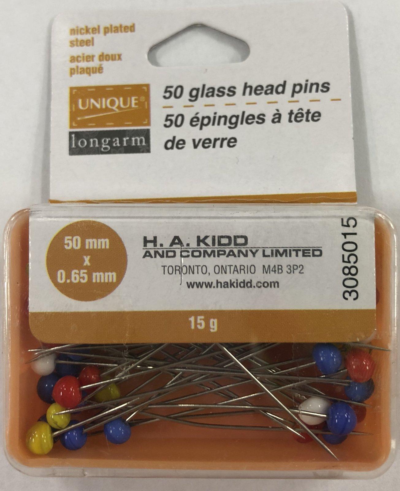 UNIQUE LONGARM Glass Head Quilting Pins 50 pcs - 50mm (2)