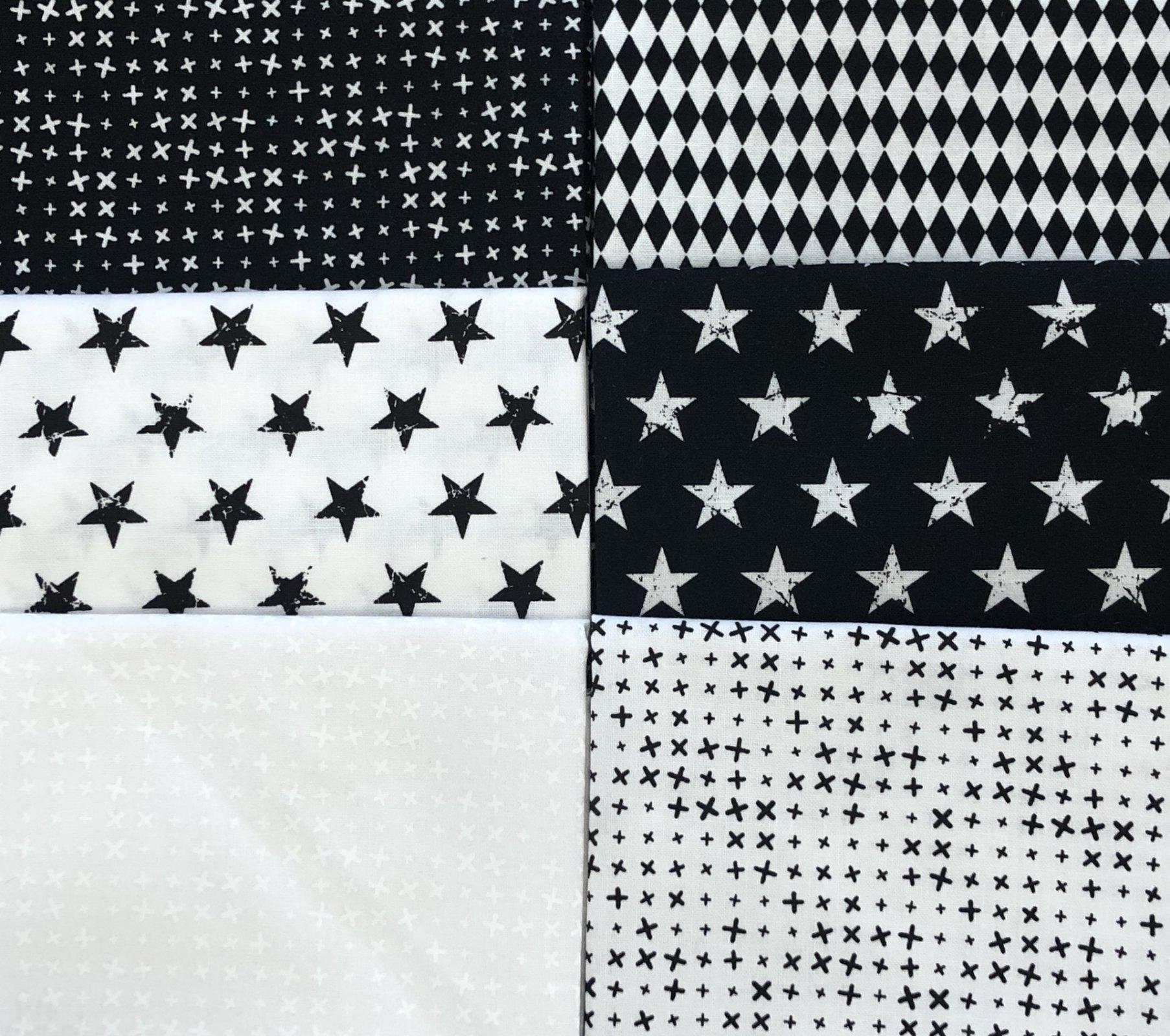 Black & White Shapes - Fat 1/4 Bundle 6pc