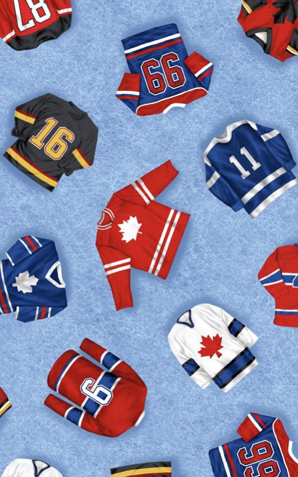1yd Canada's Game Flannel - tossed jerseys by Robert Kaufman