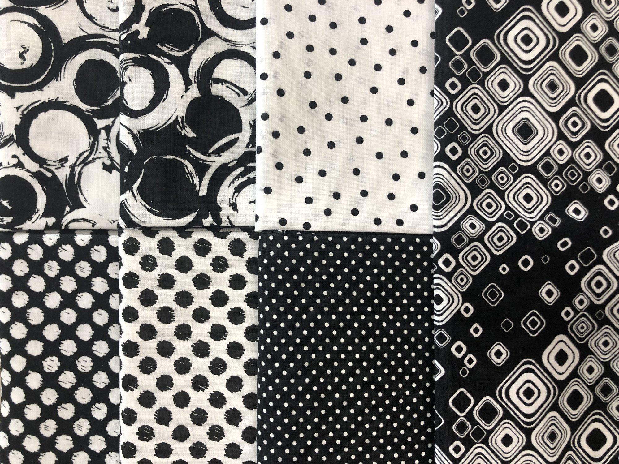 Black & White Circles & Dots - Fat 1/4 Bundle 7pc