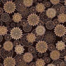 Brown/Tan Floral Medallions 108 Flannel Wideback