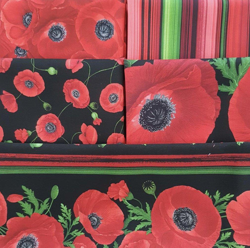 Poppies - Fat 1/4 Bundle - 5 pcs