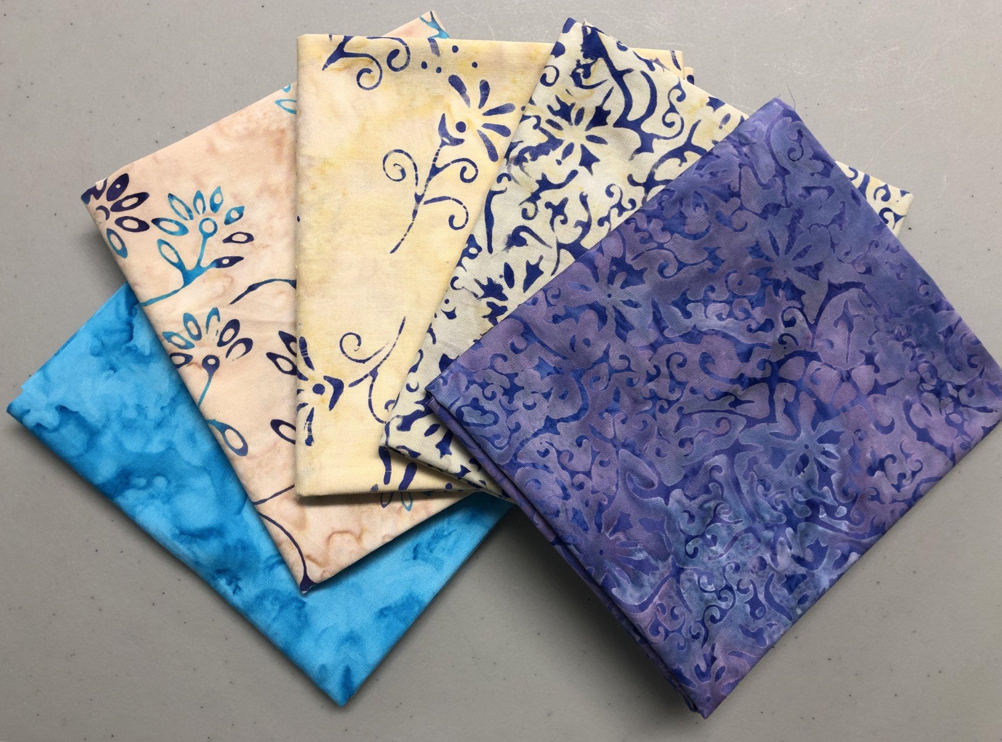 Batik Fat 1/4 bundle - Purple/Turquoise/Cream - 5 pc