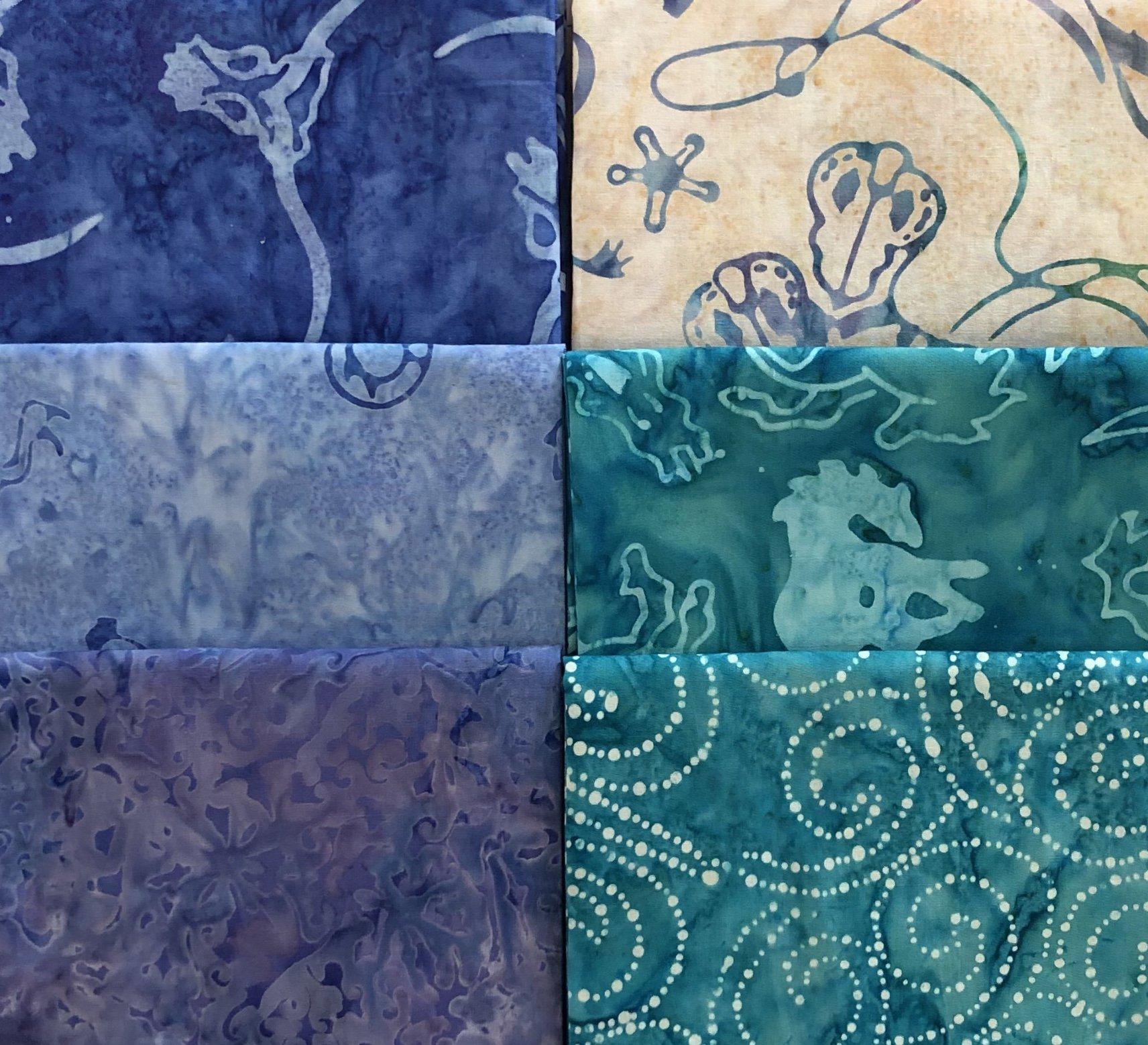 Western Batiks in Blues - Fat 1/4 Bundle - 6 pc