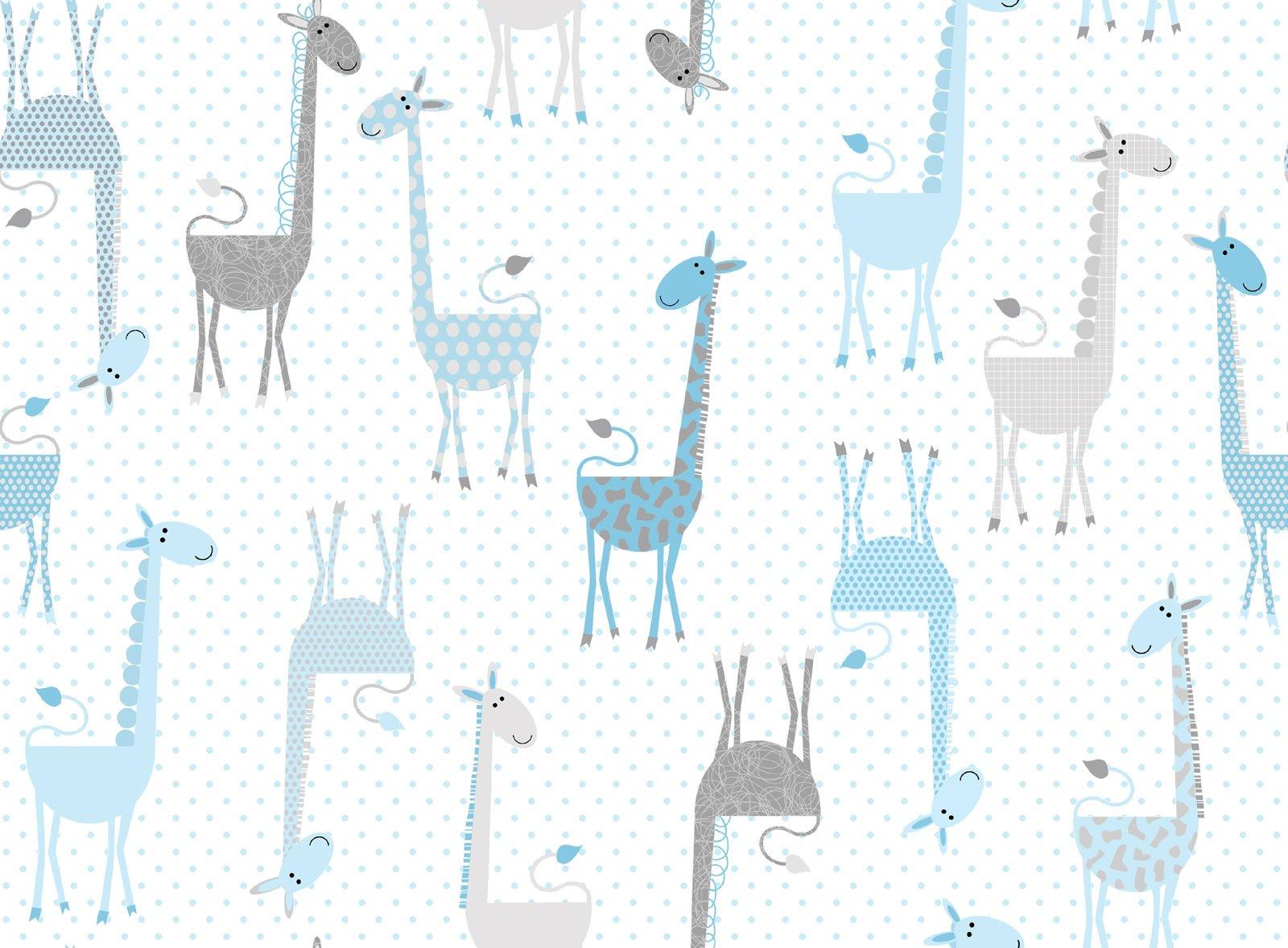 Giraffe Blue Fun Flannel
