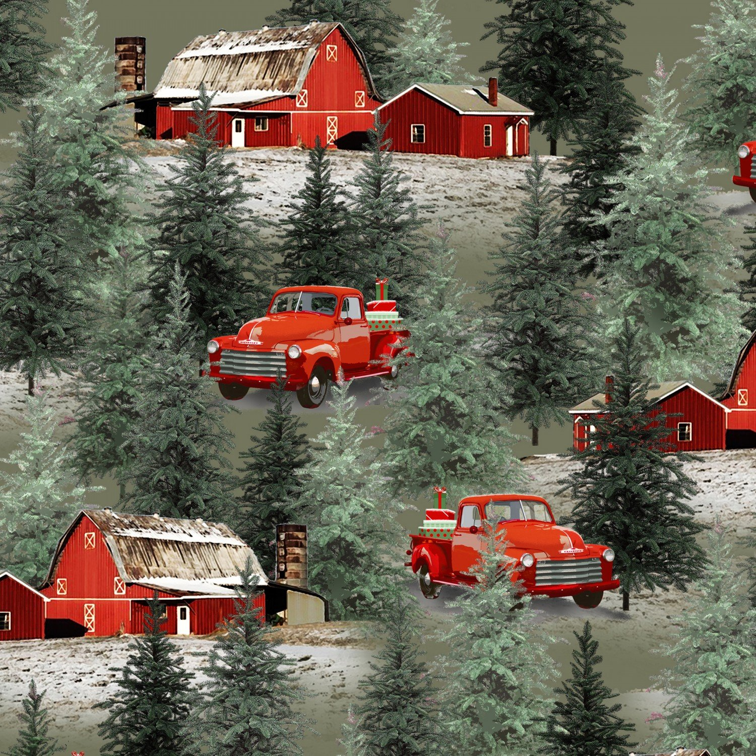 Holiday Homestead Red Truck with Pine Trees