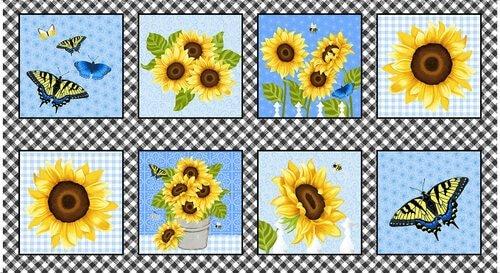 Sunny Sunflowers Big Blocks Panel