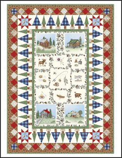 Cozy Cabin Quilt Kit with Panel