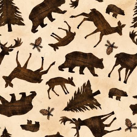 Pinewood  flannel animal toss cream