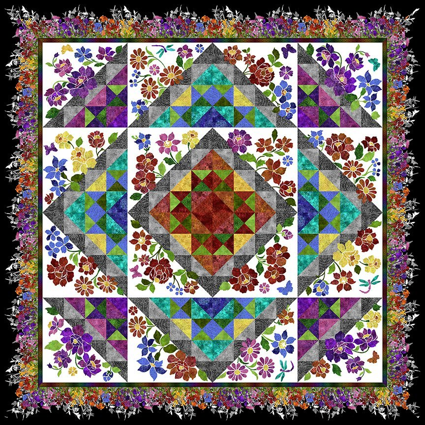 Rainbow of Jewels Enchanted Garden Quilt Kit