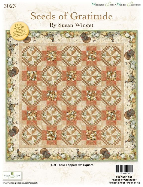 Seeds of Gratitude Rust Table Topper Quilt Kit