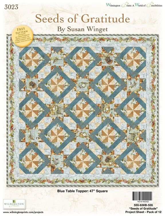 Seeds of Gratitude Blue Table Topper Quilt Kit