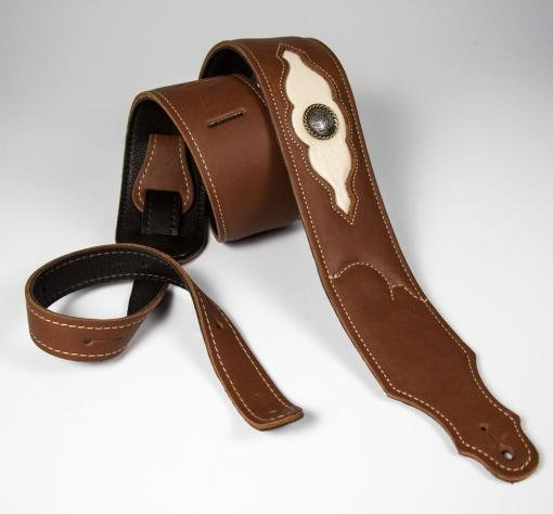 Franklin Strap 8L1B-CG-CR 2.5' Padded Cognac Latigo/Cream Leather Insert