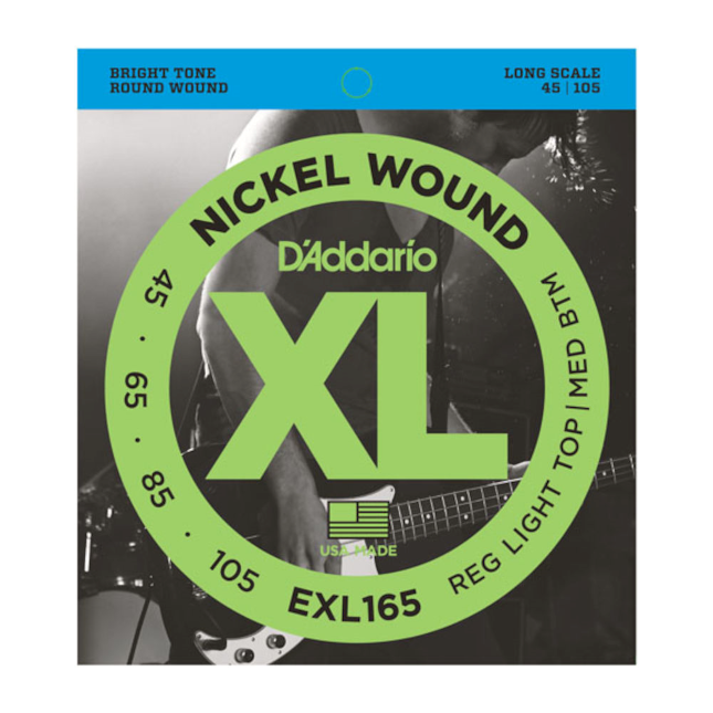 D'Addario EXL165 Nickel Wound Bass Guitar Strings Custom Light 45-105 Long Scale