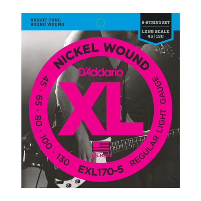 D'Addario EXL170-5 5-String Nickel Wound Bass Guitar Strings, Light, 45-130, Long Scale