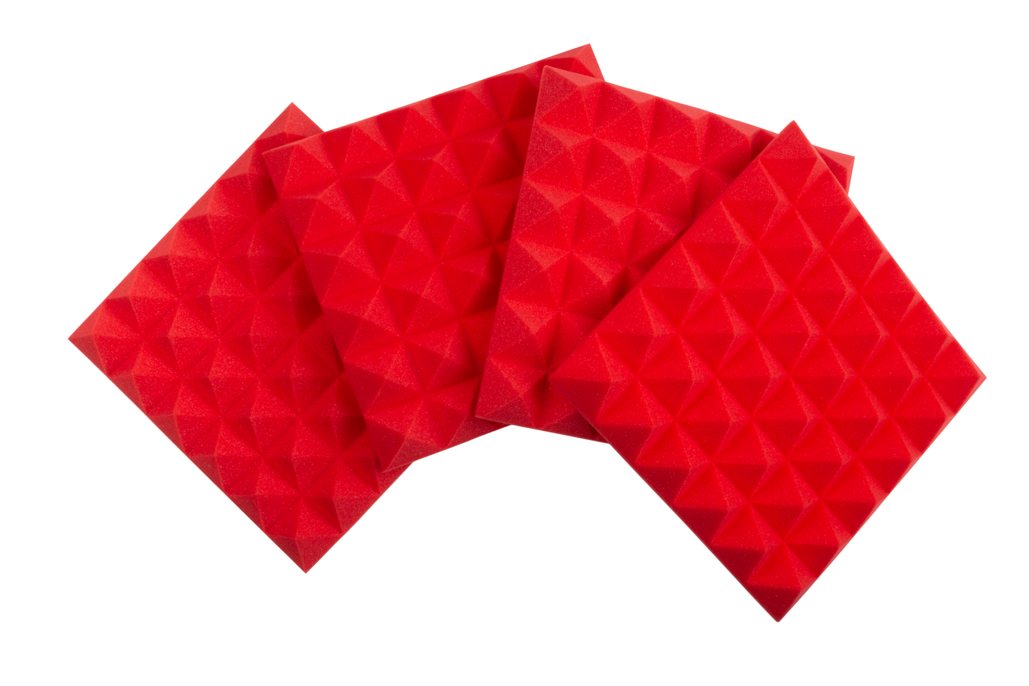 """Frameworks GFW-ACPNL1212PRED-4PK Four (4) Pack of 2""""-Thick Acoustic Foam Pyramid Panels 12""""x12"""" – Red Color"""