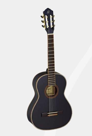 Ortega R221BK-3/4 Spruce Top Guitar With Mahogany Back & Side Gloss Finish Black w/Bag