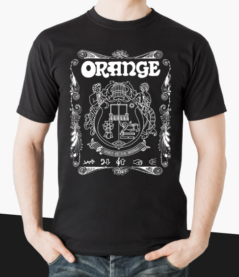 Orange SHIRT WHISKEY BLACK LARGE - Whiskey Style (Crest) T-Shirt (Size L)