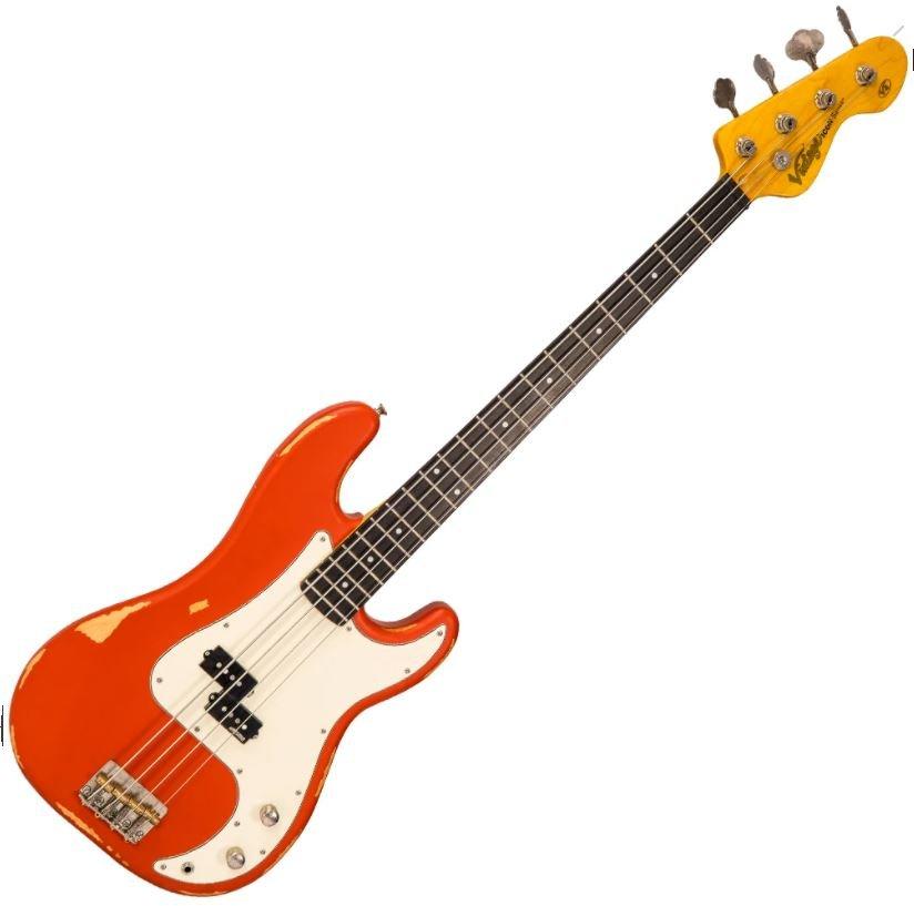 Vintage V4MRFR V4 ICON Bass ~ Distressed Firenza Red