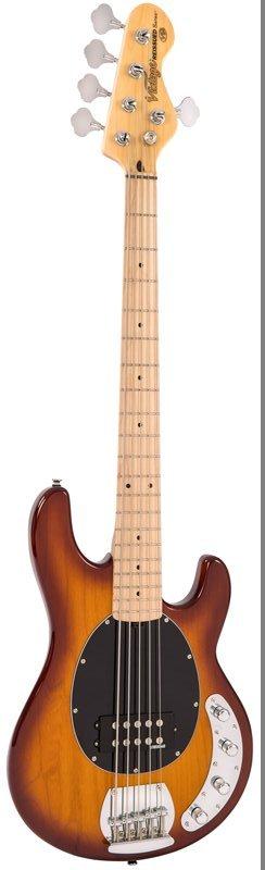 Vintage Reissued V965TSB Active 5-String Brown Sunburst