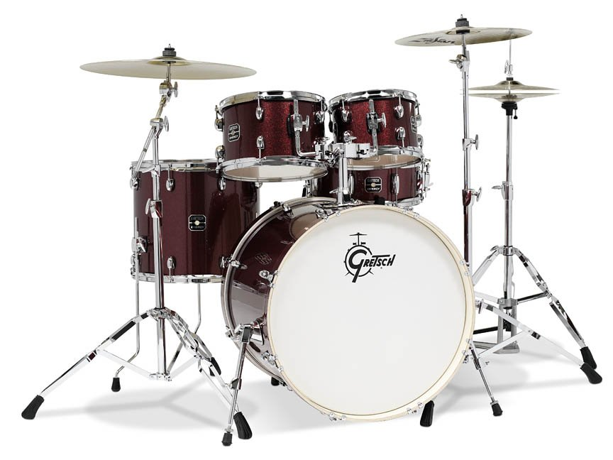 Gretsch Energy 5 Piece Set W/ Hardware and Zildjian Cymbals (22/10/12/16/14SN) Ruby Sparkle