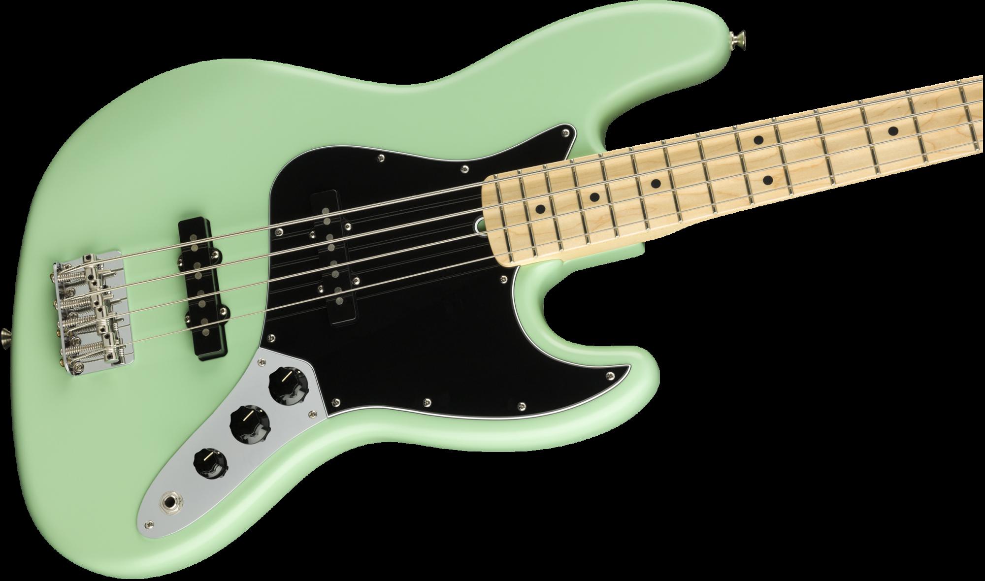 Fender American Performer Jazz Bass, Maple Fingerboard, Satin Surf Green