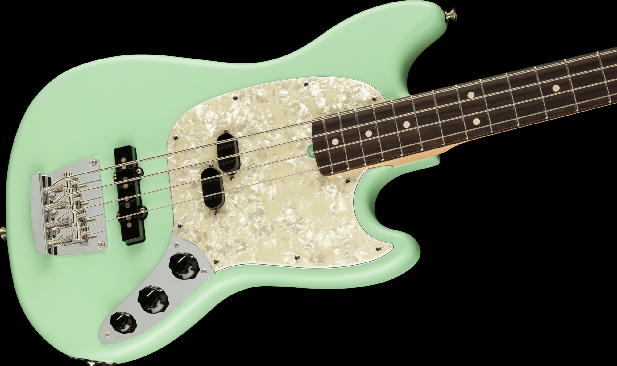 Fender American Performer Mustang Bass Rosewood Fingerboard - Satin Surf Green