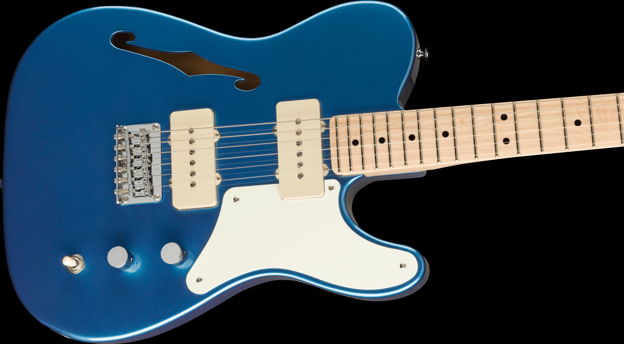 PRE-ORDER: Squier Paranormal Cabronita Telecaster Thinline Maple Fingerboard Gold Anodized Pickguard - Lake Placid Blue