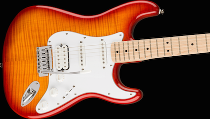 Package deal with Squier Affinity Series Stratocaster FMT HSS - Sienna Sunburst Guitar Amplifier, Cable, Strap, and picks