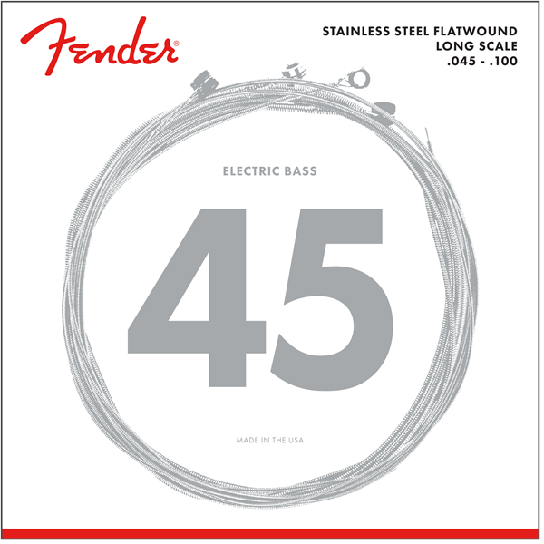 Fender Stainless 9050's Bass Strings, Stainless Steel Flatwound, 9050L .045-.100 Gauges, (4)