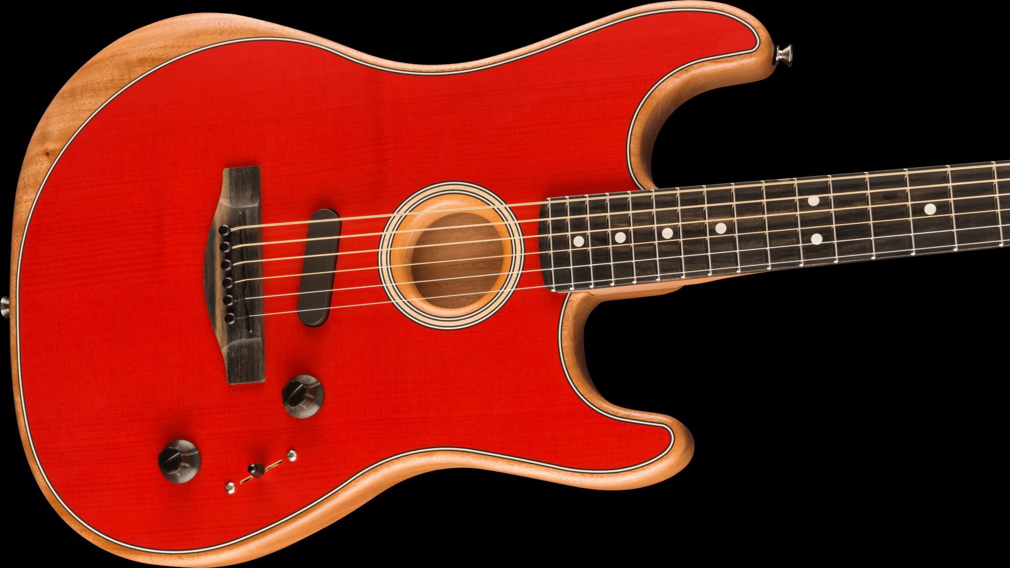Fender American Acoustasonic Stratocaster Ebony Fingerboard - Dakota Red