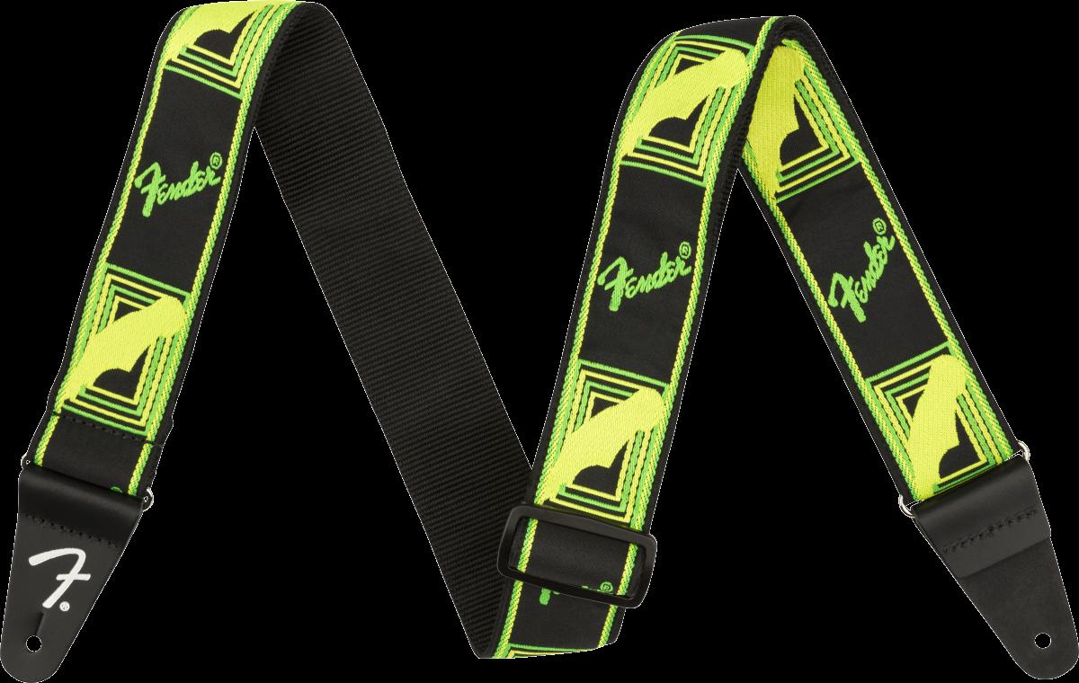 Fender Neon Monogrammed Strap, Green/Yellow