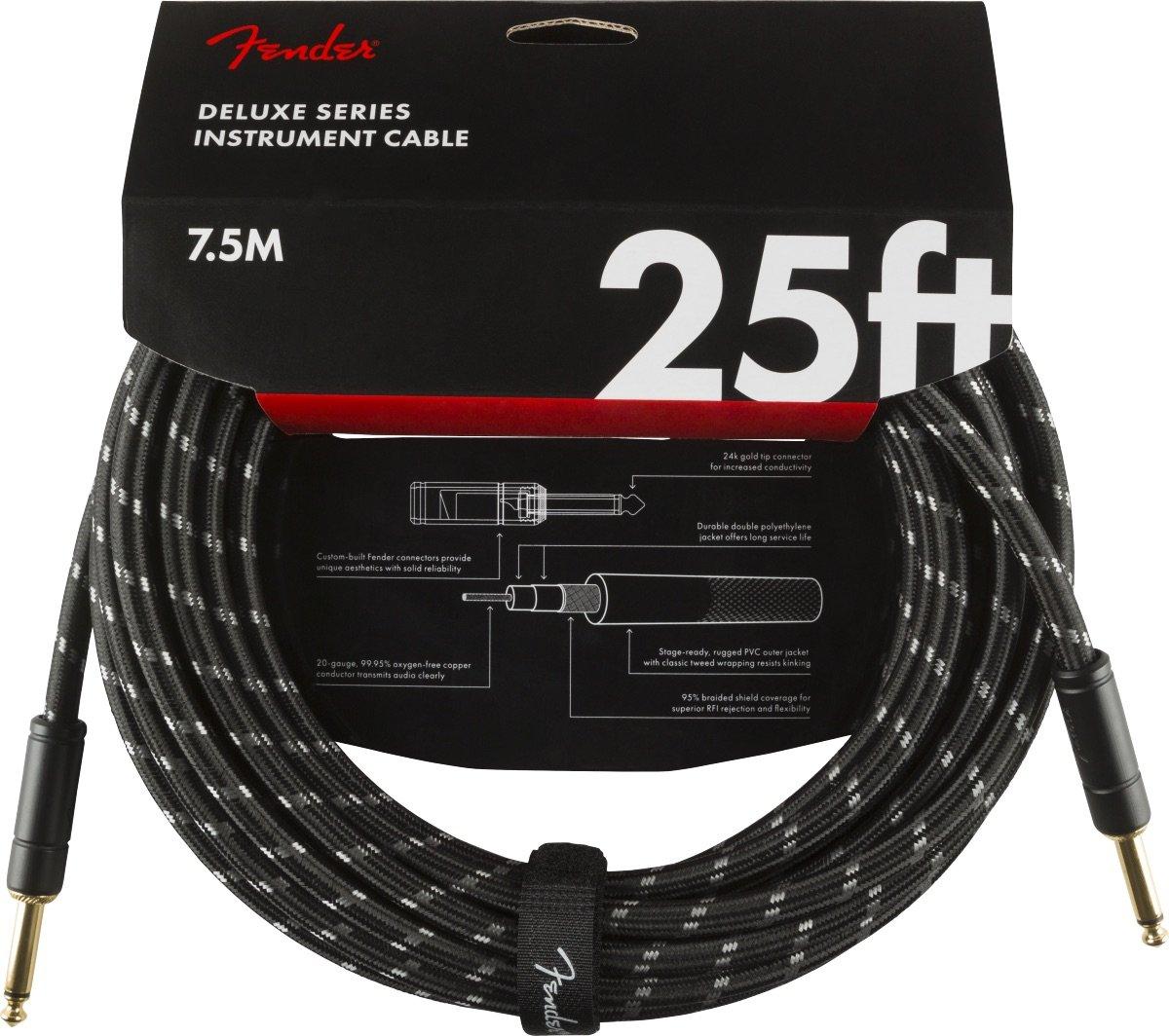 Fender Deluxe Series 25' Instrument Cable-Black Tweed