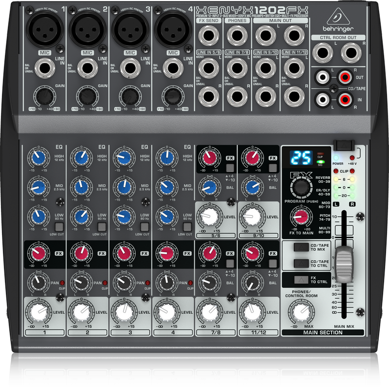Behringer XENYX 1202FX Premium 12-Input 2-Bus Mixer with Xenyx Mic Preamps, British EQs and 24-Bit Multi-FX Processor
