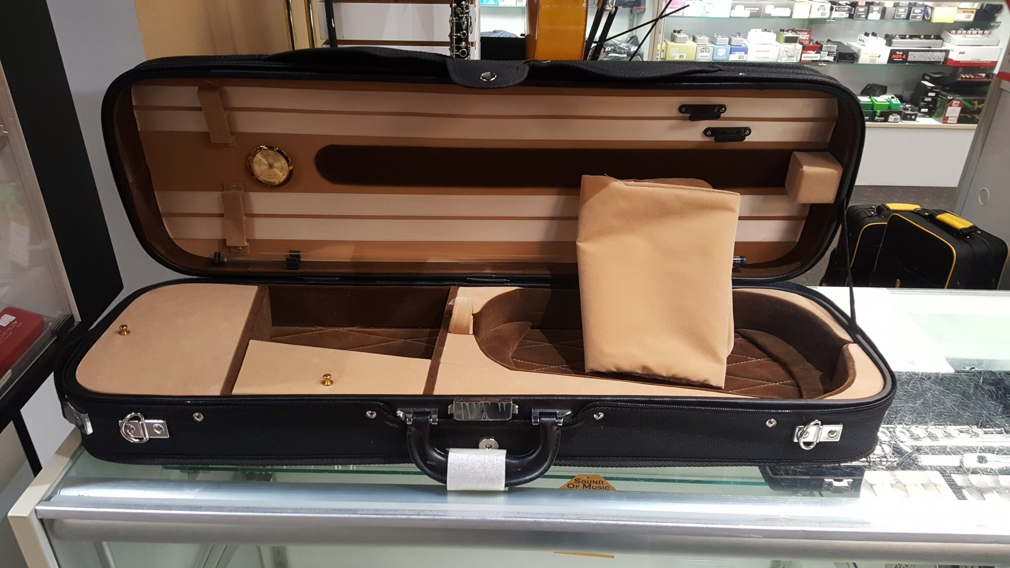 Sound of Music No. 5500 Plywood Suspension Case 4/4 Violin - Burgundy and Tan Interior