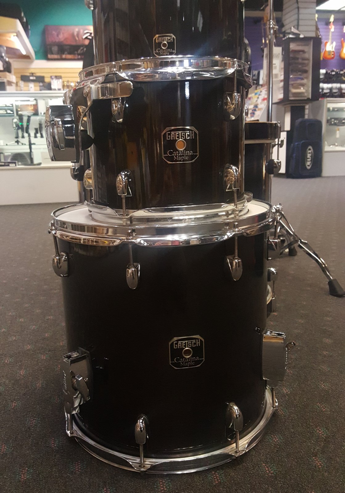Used Gretsch Catalina Maple 7PC. Drum Set - Transparent Ebony